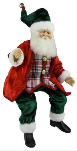 "24"" Sitting fabric Santa with Plaid Vest"