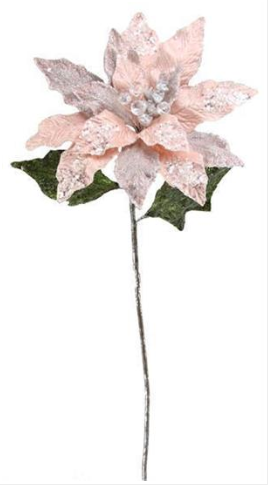 "29"" Pink Beaded Poinsettia Stem"
