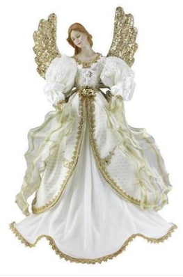 "Tree Topper: 30"" Golden Winged Angel"