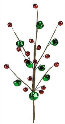 "16"" Stem: Green/Red Jingle Bells"