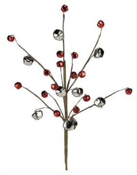 "16"" Stem: Silver/Red Jingle Bells"