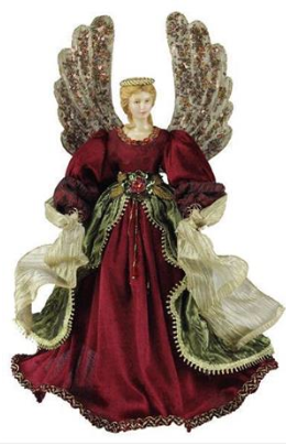 "Tree Topper: 18"" Burgandy Winged Angel"