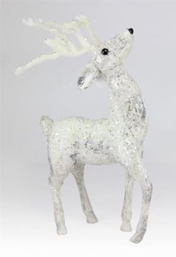 "17"" Birch Flocked Standing Deer"