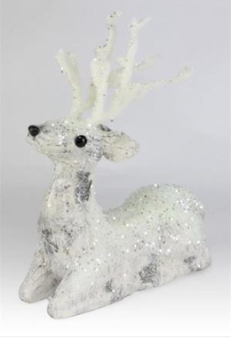 "12"" Birch Flocked Lying Deer"