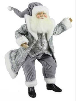 "24"" Grey Sitting Fabric Santa"