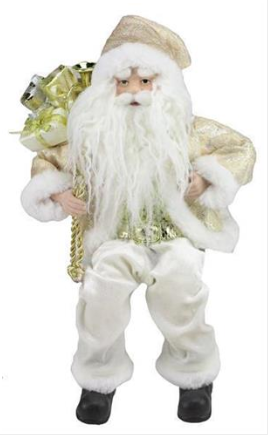 "12"" White and Gold Sitting Fabric Santa"