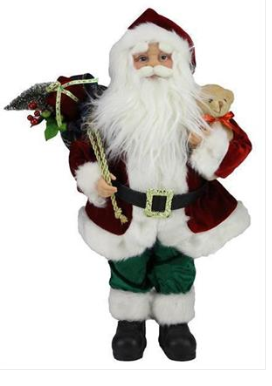 "18"" Traditional Standing Fabric Santa with Bear"