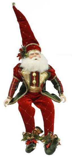 "22"" Sitting Santa with Red and Green, gold accents"