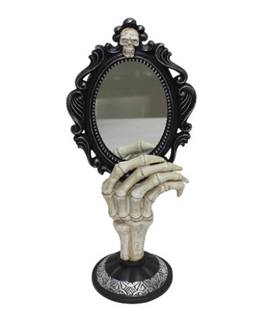 Skeleton Hand Mirror: 6.5 x 14.63 inches