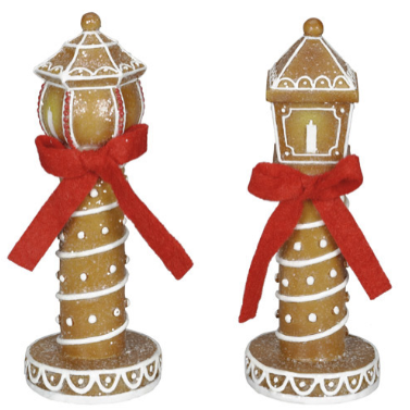 Gingerbread Lamp Post: 1.77 x 4.53 inches, 2 Assorted Styles