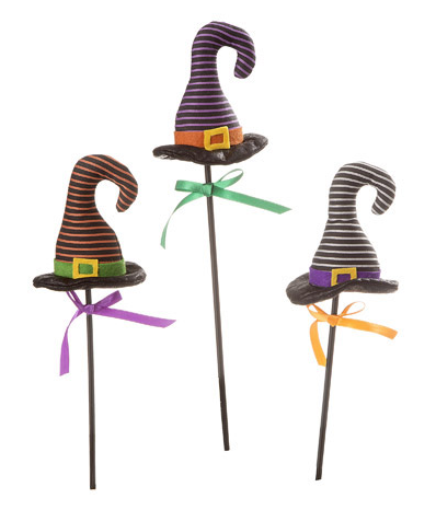 Striped Witch Hat Pick: 4 x 16 inches, 3 assorted styles