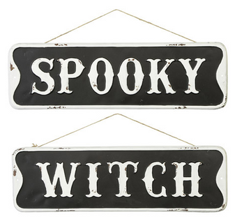 Metal Halloween Sign: Black/White, 20 x 6 inches, 2 assorted