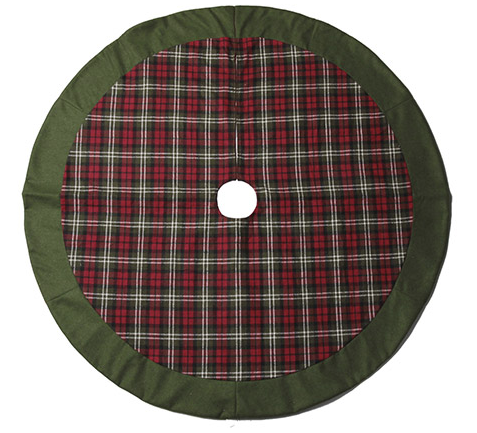 Red & Green Plaid Tree Skirt with Green Trim