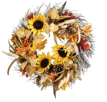 Fall Foliage and Sunflower Wreath, 22 inches