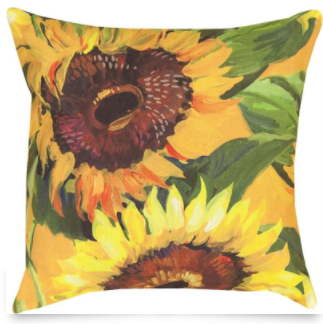Painted Sunflower Outdoor Pillow 18x18in