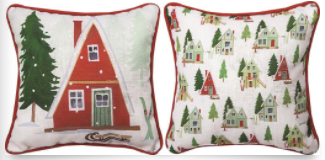 Alpine Cabin Pillow 12x12in