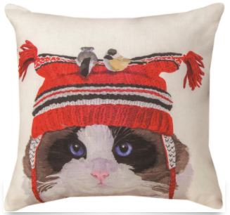 Cat with Bird on Hat Pillow 18x18in