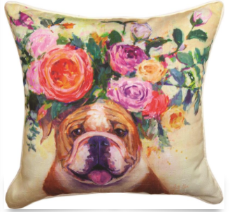 Dogs in Bloom Pillow 18x18in