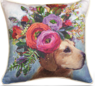 Dogs in Bloom Lab Pillow 18x18in