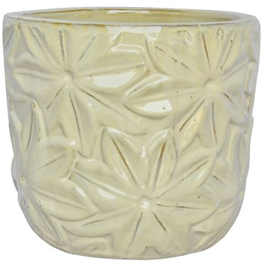 Floral Planter: Light Cream Glaze