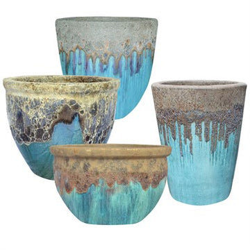 Volcanic Smooth Tall Planter: Milky Blue Glaze