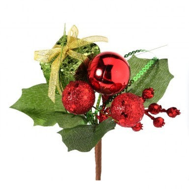 "Outdoor Pick: 7"" Glitter Box Holly Ball"