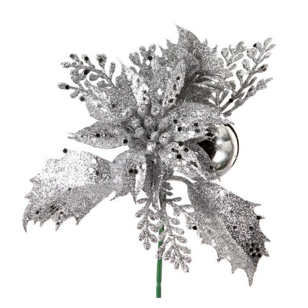 "Outdoor Pick: 6.5"" Glitter Poinsettia & Boxwood"