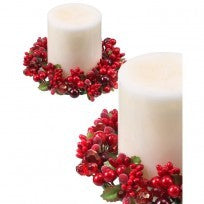 "Candle Ring: 6"" Pearl, Berry & Jewel"