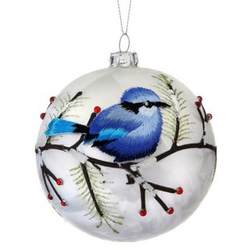 "Ornament: 4"" Blue Bird Ball"