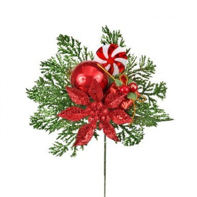 "Outdoor Pick: 7.5"" Poinsettia, Ball, Gift Box, & Fern"