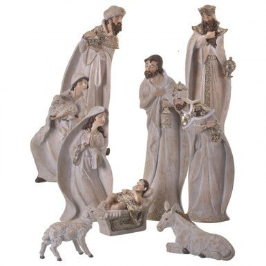 Nativity: Whitewash with Gold Trim 9 Piece Set