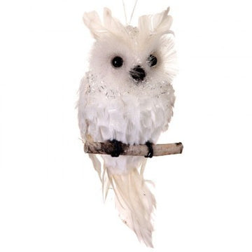 "Ornament: 5"" Tinsel Ice Owl"