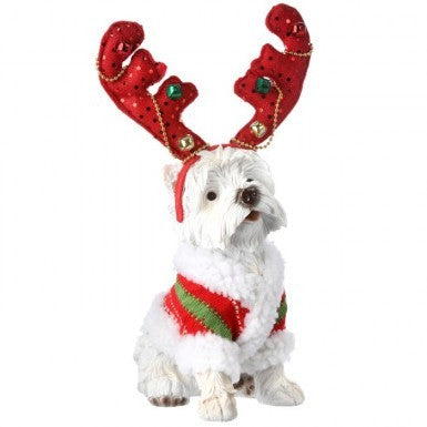 "Figure: 14"" Scotty with Jingle Antlers"