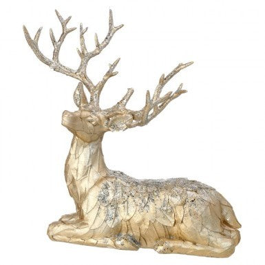 "Figure: 14"" Laying Leaf Deer"