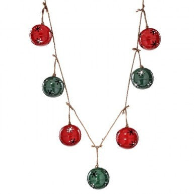 Garland: Red & Green Jingle Bells on Rope