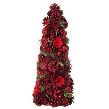 "Tree: 20"" Red Berry, Pinecone & Check Ball Cone"