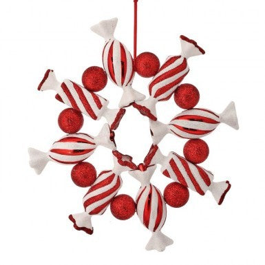 "Ornament: 10"" Candy Cane Wreath"