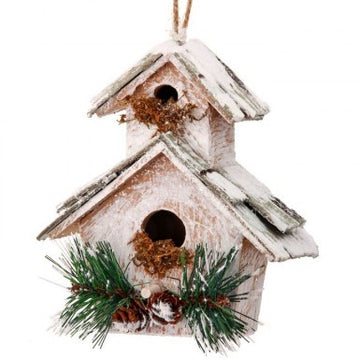 "Ornament: 5.5"" Frosted Birdhouse"