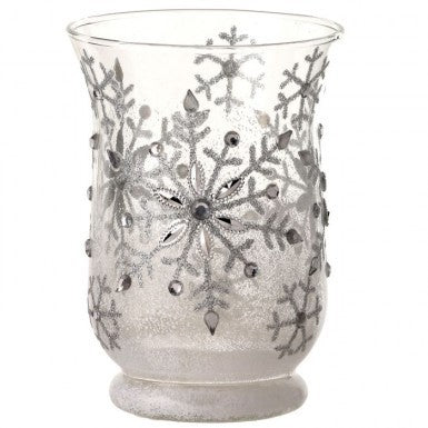 "Candle Holder: 6"" Clear Snowflake Design"
