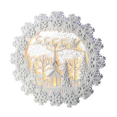 "Snow Globe: 12"" Snowflake Wreath"