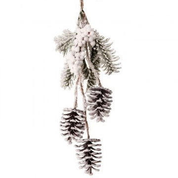 "Ornament: 15"" Snow Pine & Berry Hanging"