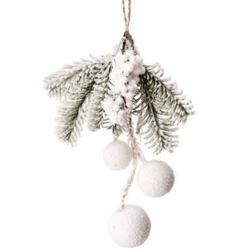 "Ornament: 10"" Pine Snowball Berry"