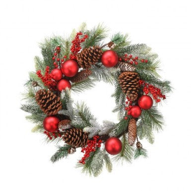"Wreath: 24"" Frost Pine Berry"