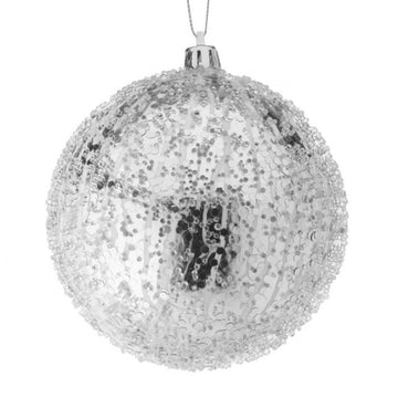 "Ornament: 4"" Iced Silver Ball"