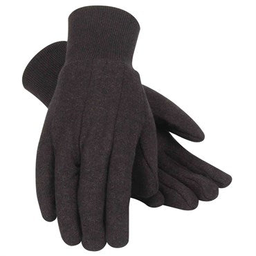 Gloves: Jersey Knit Wrist Brown