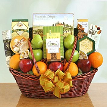 Fruit Gift Basket with Cheese and Crackers