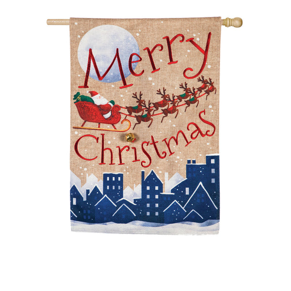 House Flag: Santa's Sleigh Merry Christmas