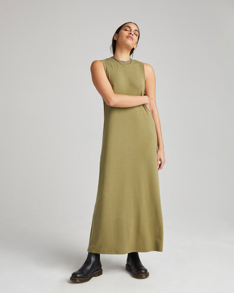 Olive Army Vintage Rib Column Dress
