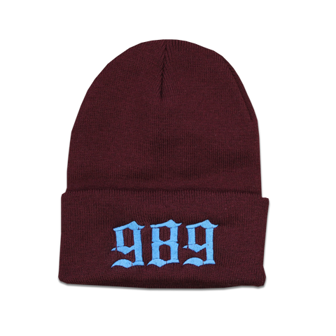 989 EMBROIDERED BEANIE - BURGUNDY