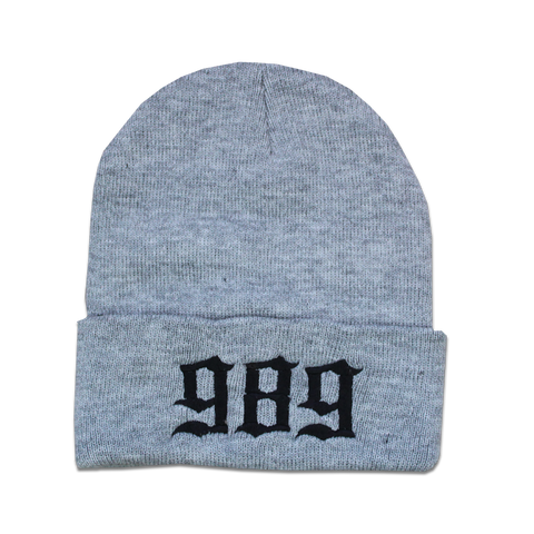 989 EMBROIDERED BEANIE - GREY